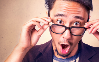 Excited man with glasses
