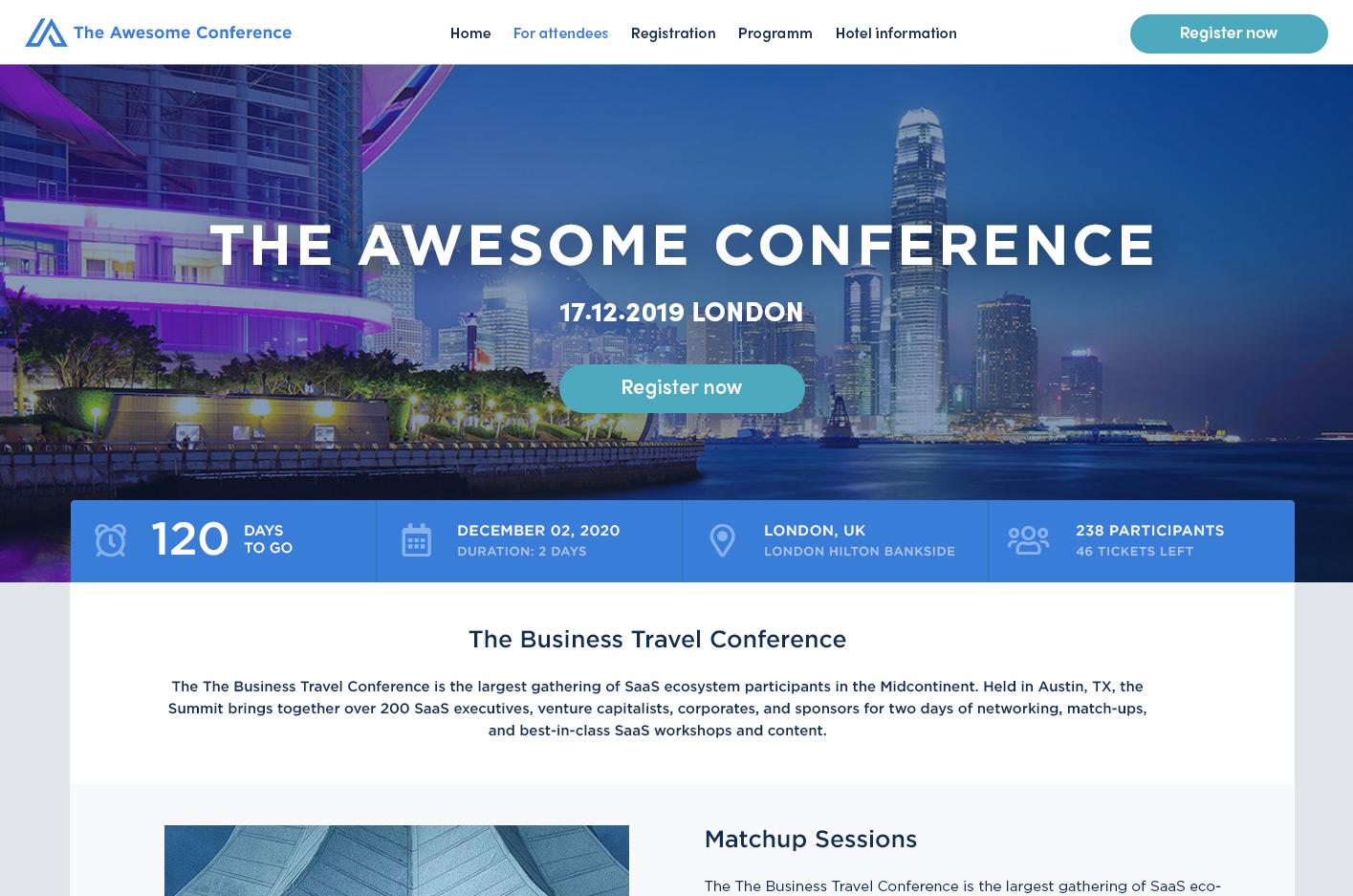 event landing page von der Plattform Converve