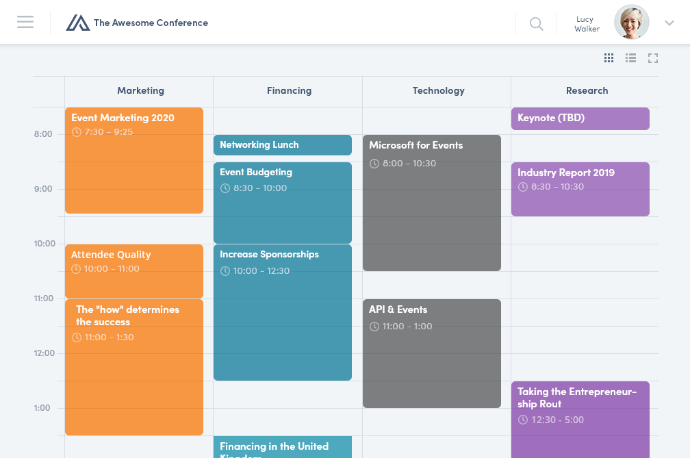 Event Programm in der Converve App