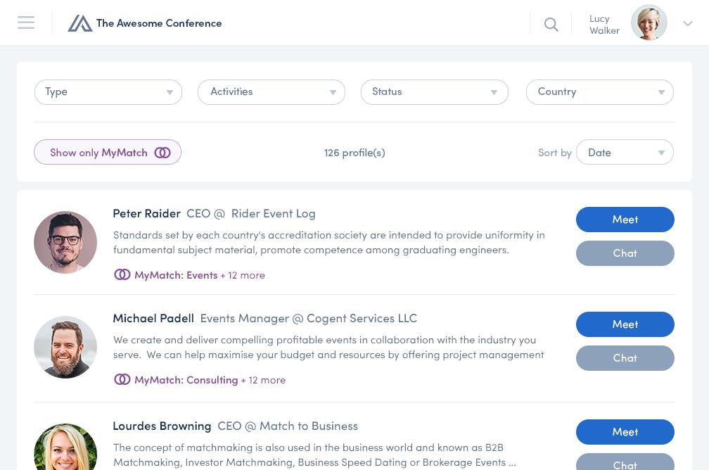 Teilnehmer Übersicht in der Converve App. Zeigt Vorschläge für ideale Meetingpartner